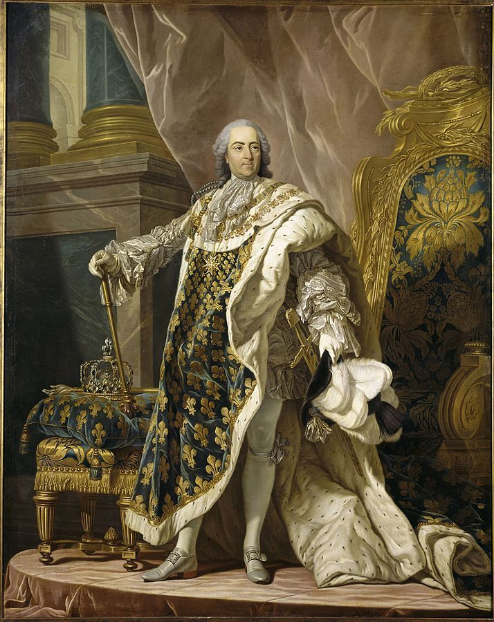 Portrait de Louis XV en costume de sacre par Louis-Michel van Loo. Par Louis-Michel van Loo — Library and Archives Canada, Domaine public, https://commons.wikimedia.org/w/index.php?curid=5248965