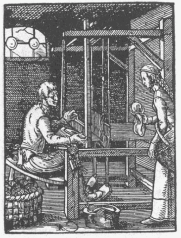 Un tisserand vers 1568 : Domaine public, https://commons.wikimedia.org/w/index.php?curid=207392