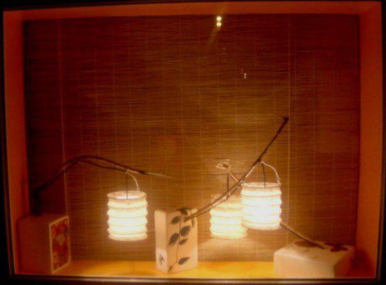 Triptyque Japonisant Lampion papier et bois flotté Vitrine 2011