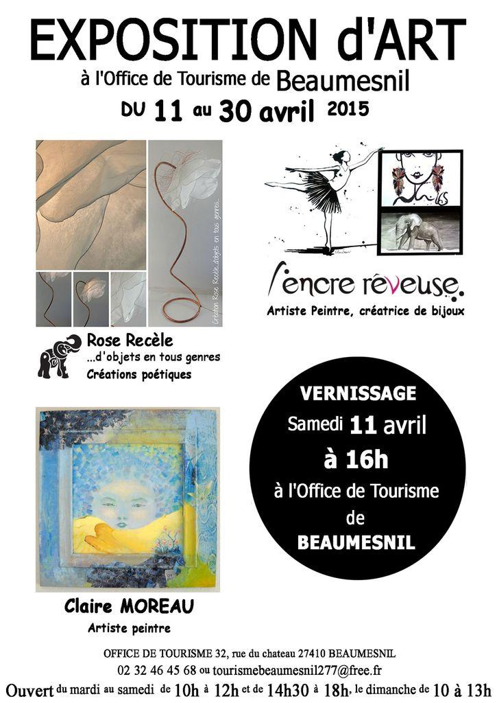 Expo collective à l'office du tourisme de Beaumesnil 27 avec L'Encre rêveuse et Claire Moreau