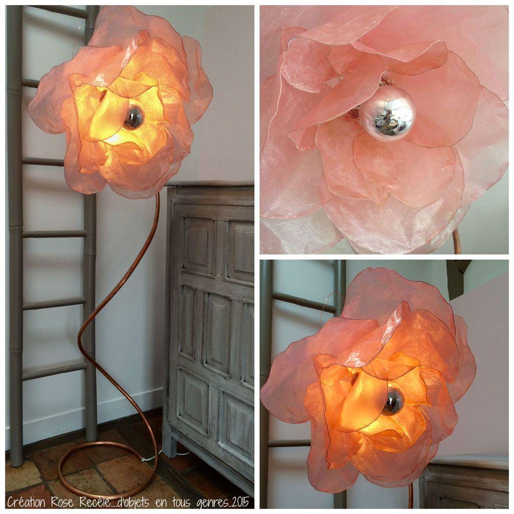 Lampadaire fleur rose poudre Création Upcyclée