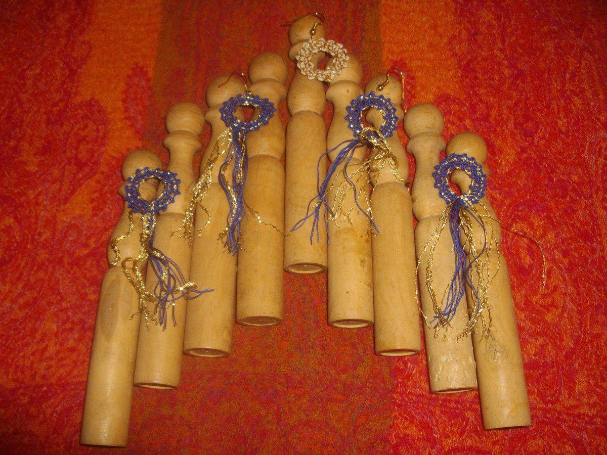 Boucles d'oreilles en dentelle aux fuseaux coton et fil doré