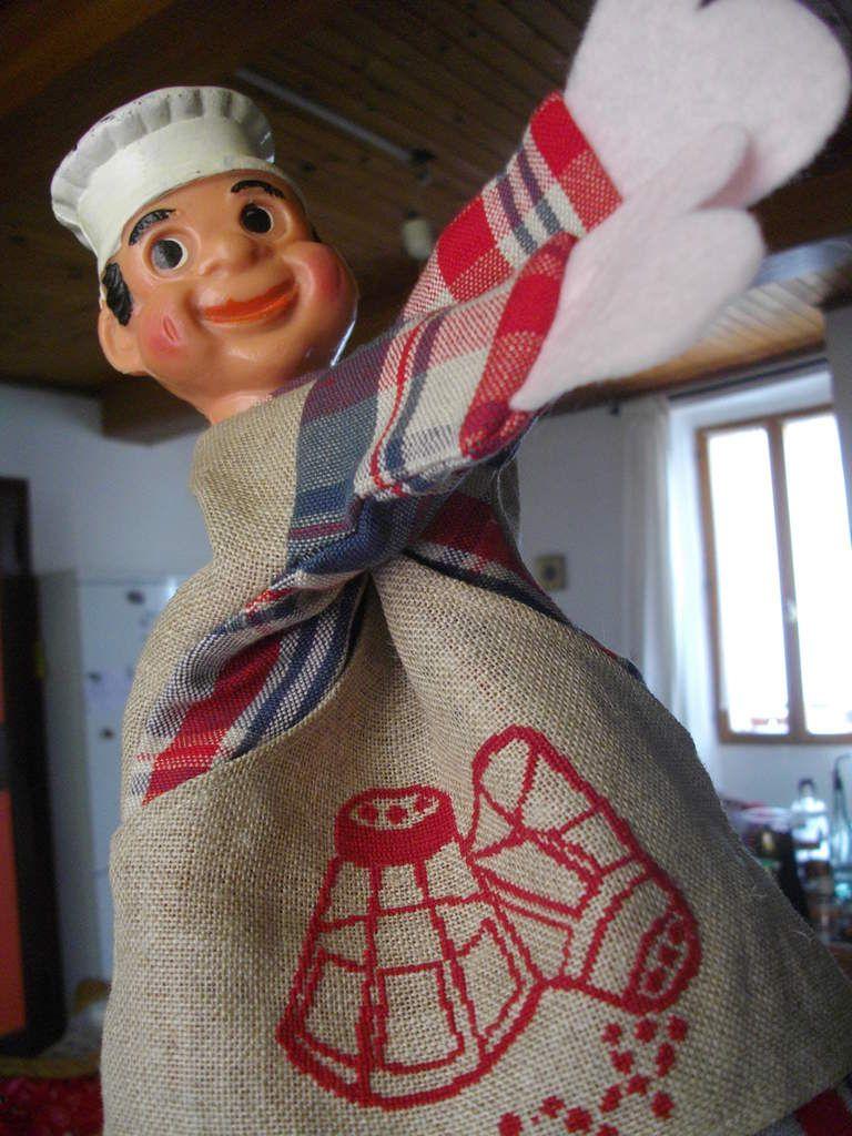 Marionnette cuisinier brodé en tissu kelsch