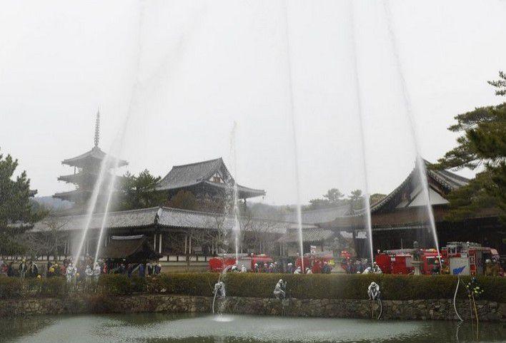 Prévention contre les incendies au Horyu-ji