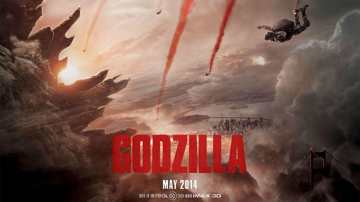 Une affiche à l'image de la Bande annonce, qui joue sur l'apparition jamais entière de Godzilla