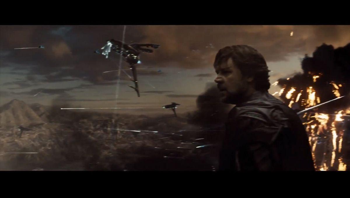 Jor-El (Russell Crowe) sur la planète Krypton