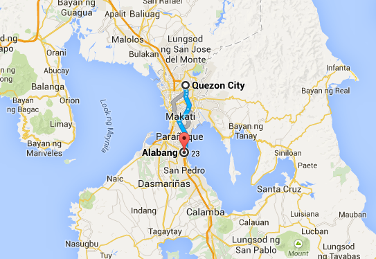 From Quezon City to Alabang: 45 km