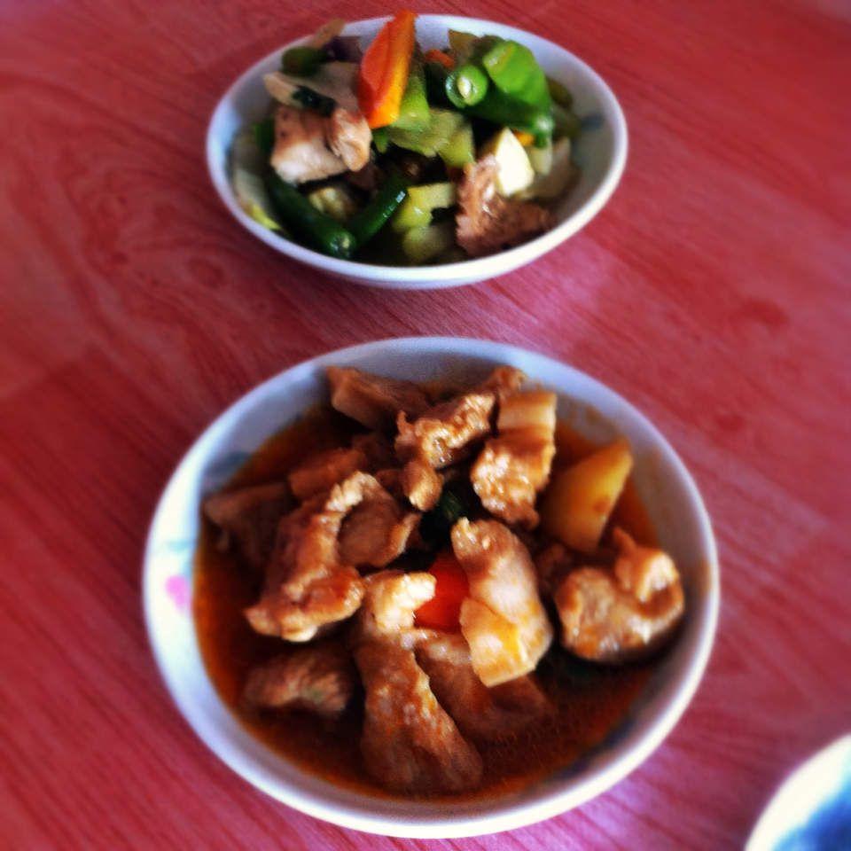 Pork Menudo and veggies
