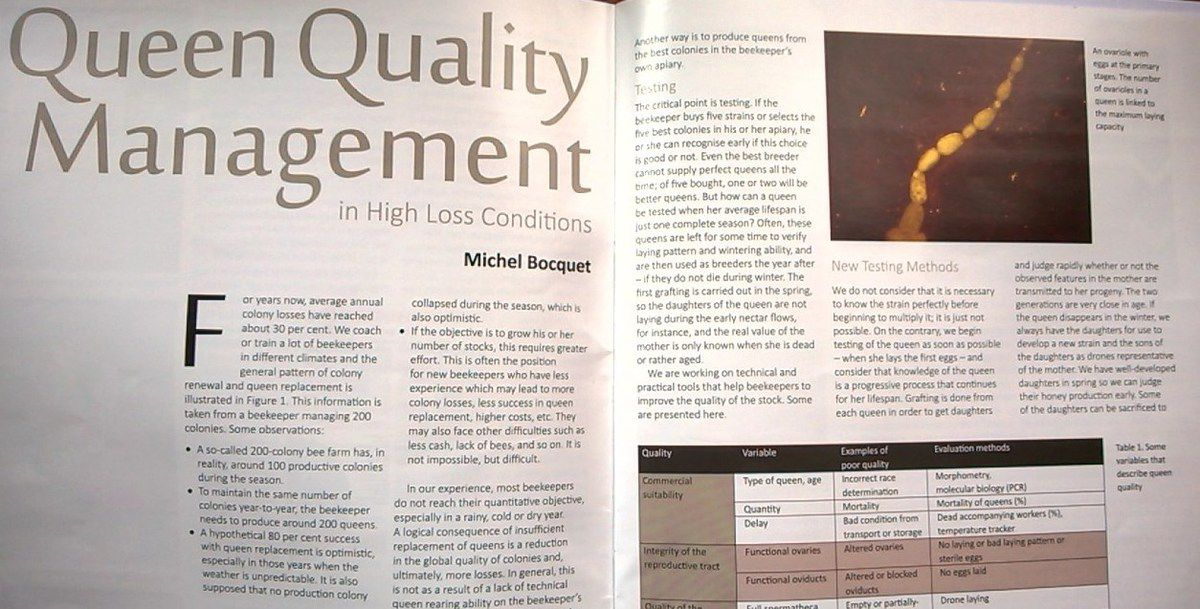 Bee farmer april issue - see my article Michel Bocquet - Queen quality management in high loss conditions