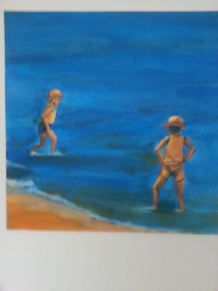 sur la plage... 50x50 acrylique
