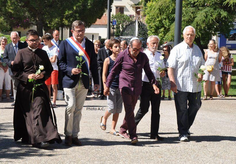 Les autorités civiles et religieuses (catholique, hébraïque) réunies dans un même élan