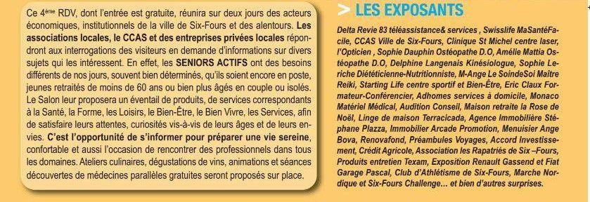 Six-Fours : 4è Salon des Jeunes Seniors Actifs, Espace Culturel André Malraux, jeudi 15 et vendredi 16 août