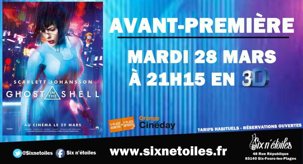 Six-Fours/Cinéma Six N'étoiles : &quot&#x3B;Ghost In The Shell&quot&#x3B; En Avant-Première, mardi 28 mars, à 21h15 (1 place achetée, 1 place offerte)
