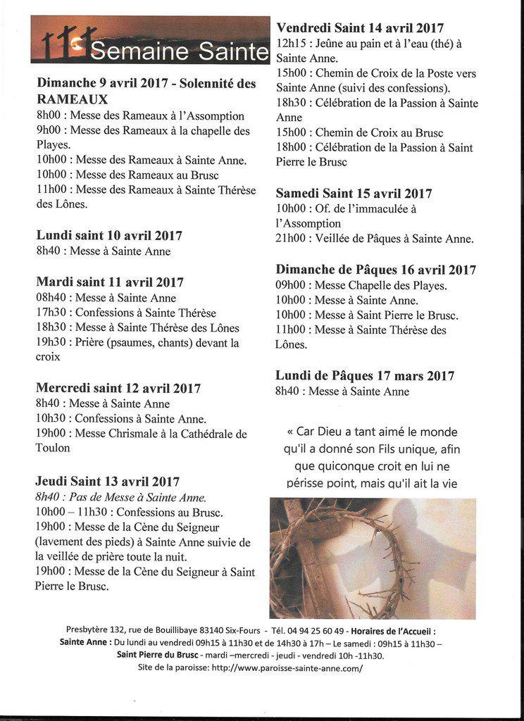 Six-Fours/Paroisse Sainte-Anne : Programme de la Semaine Sainte
