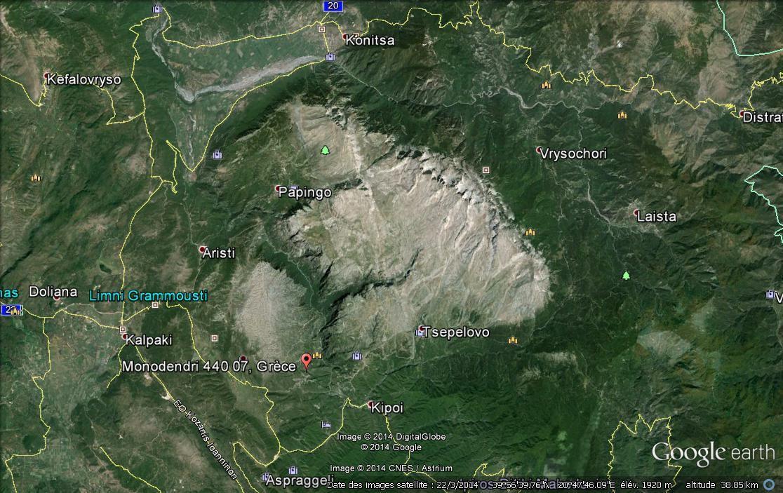 vu de google earth du mont thymphy