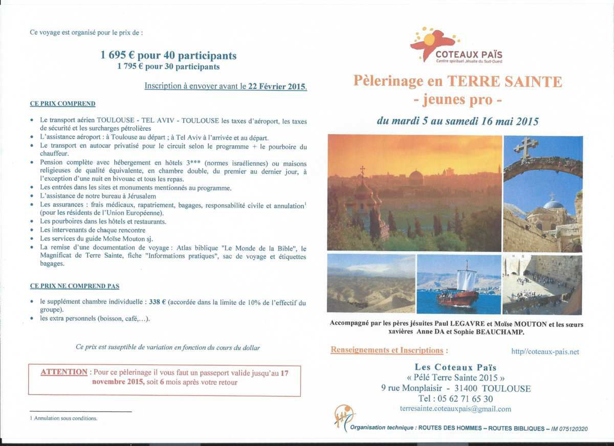 Pélérinage en Terre Sainte 2015