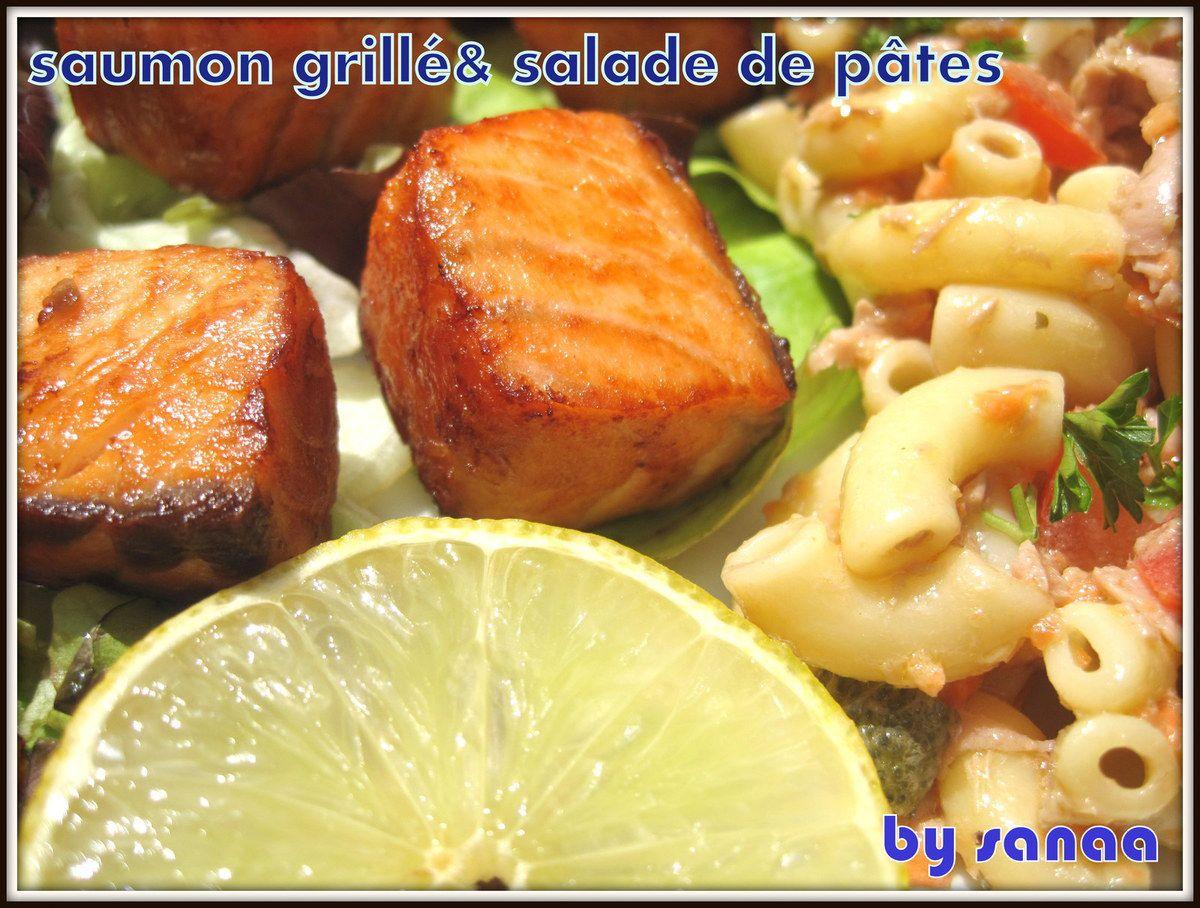 Saumon grillée et salade de pâtes