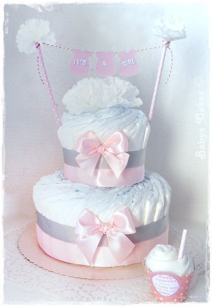 baby shower diaper cake it 39 s a girl babys cakes cadeaux. Black Bedroom Furniture Sets. Home Design Ideas