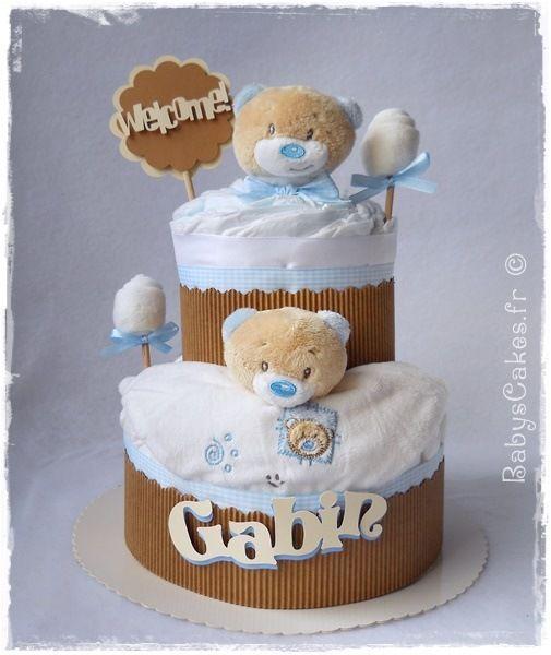 Gâteau de couches naissance Noursons cake