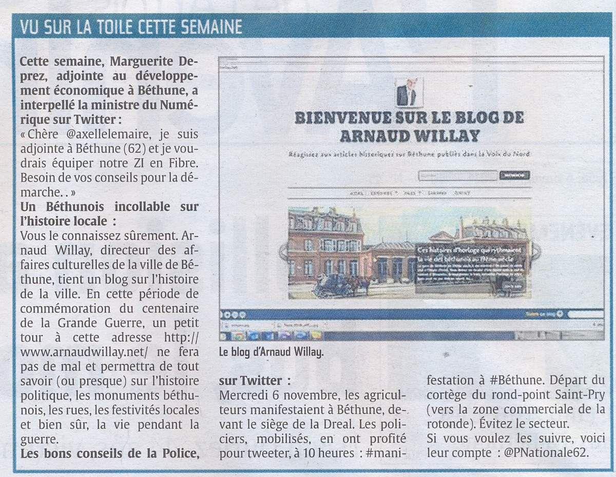 Le blog dans l'Avenir de l'Artois (6 11 2014)