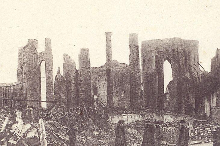 l'église Saint-Vaast en ruine en 1918