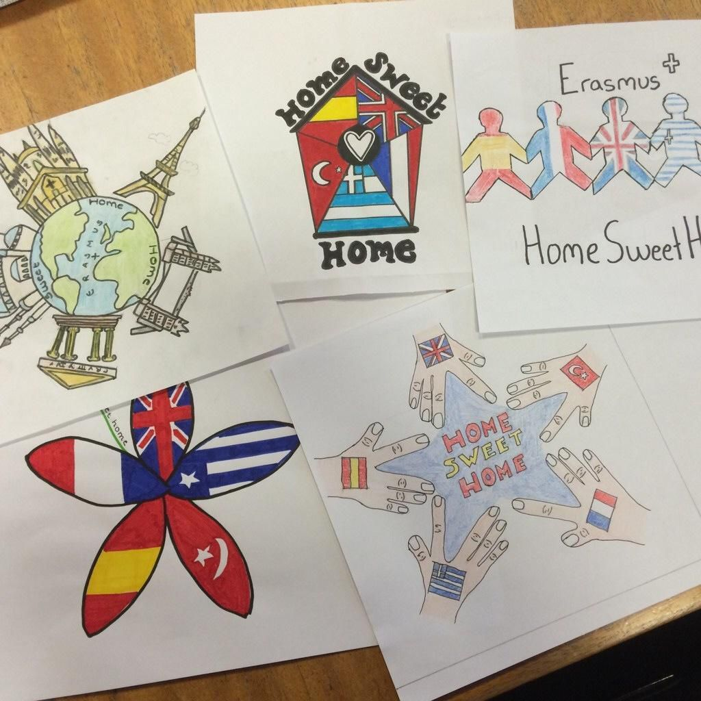 Logo entries from Heathfield school, Kidderminster, in for the Erasmus+ Project Home Sweet Home.
