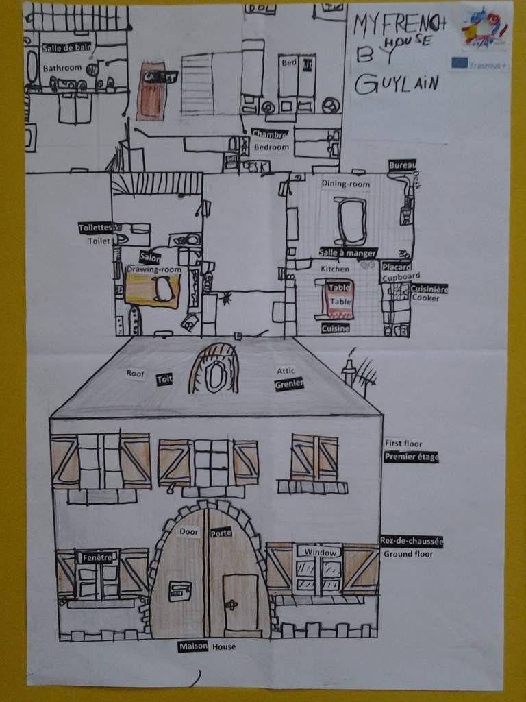 Year 7 students (= 6èmes) from Collège Calmette et Guérin have learnt about the vocabulary of the rooms and the furniture and they have represented their houses with the vocabulary in French and in English.