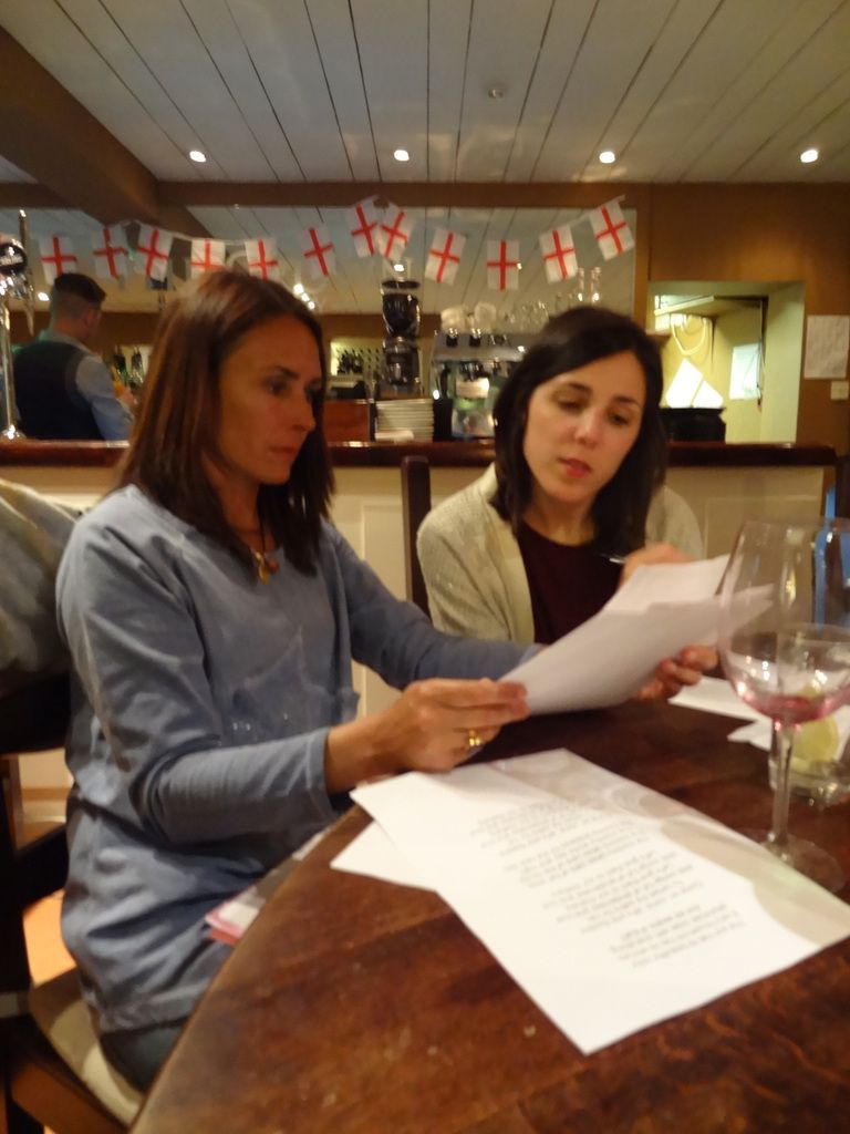 The teachers reading the poems and selecting the best ones in England on April 23rd 2015.