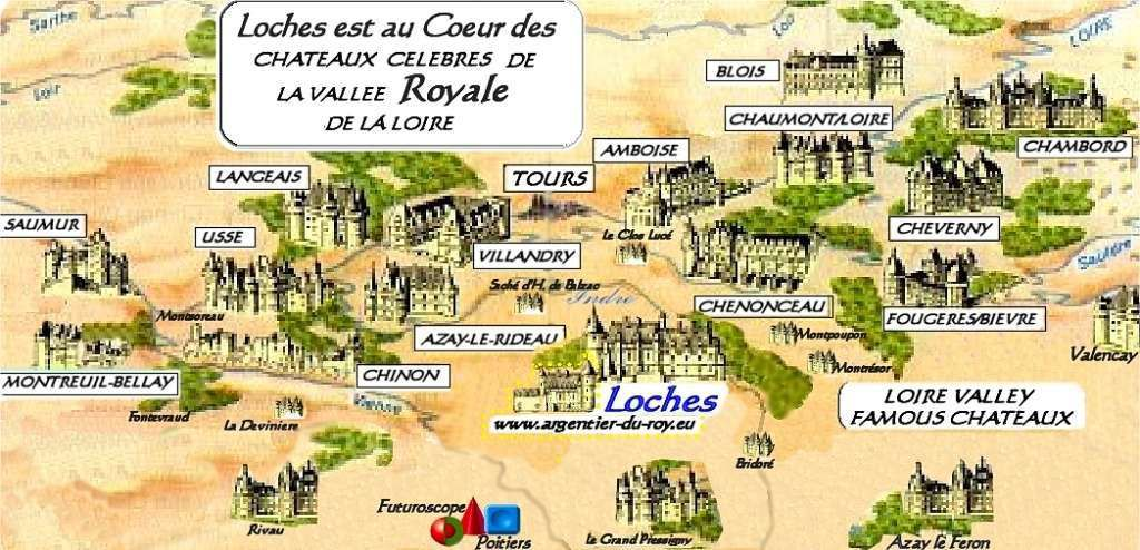 A map of the castles of the Loire Valley.