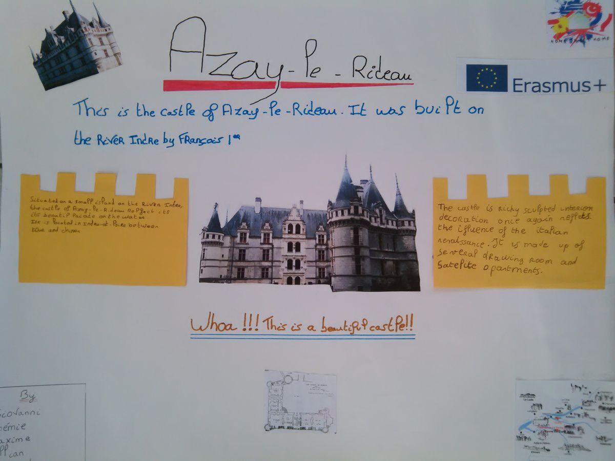 The castle of Azay-le-Rideau by Noémie, Maxime, Killian, Baptiste and Giovanni.(year 8)