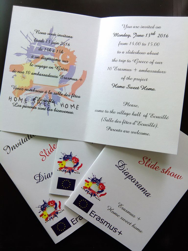 Thank you to Hugo and Valérie Jourdain for preparing the invitation cards.