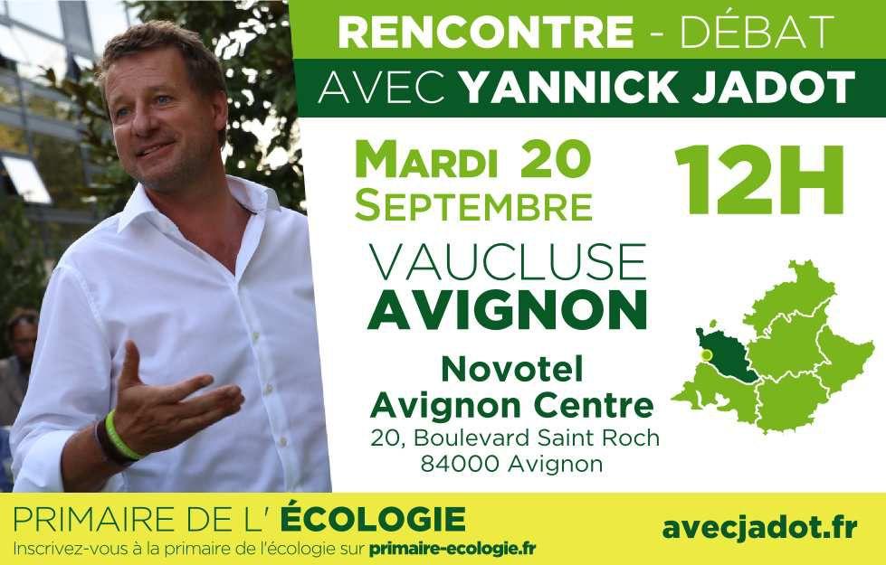 Rencontre -Débat avec Yannick Jadot à Avignon le 20 septembre