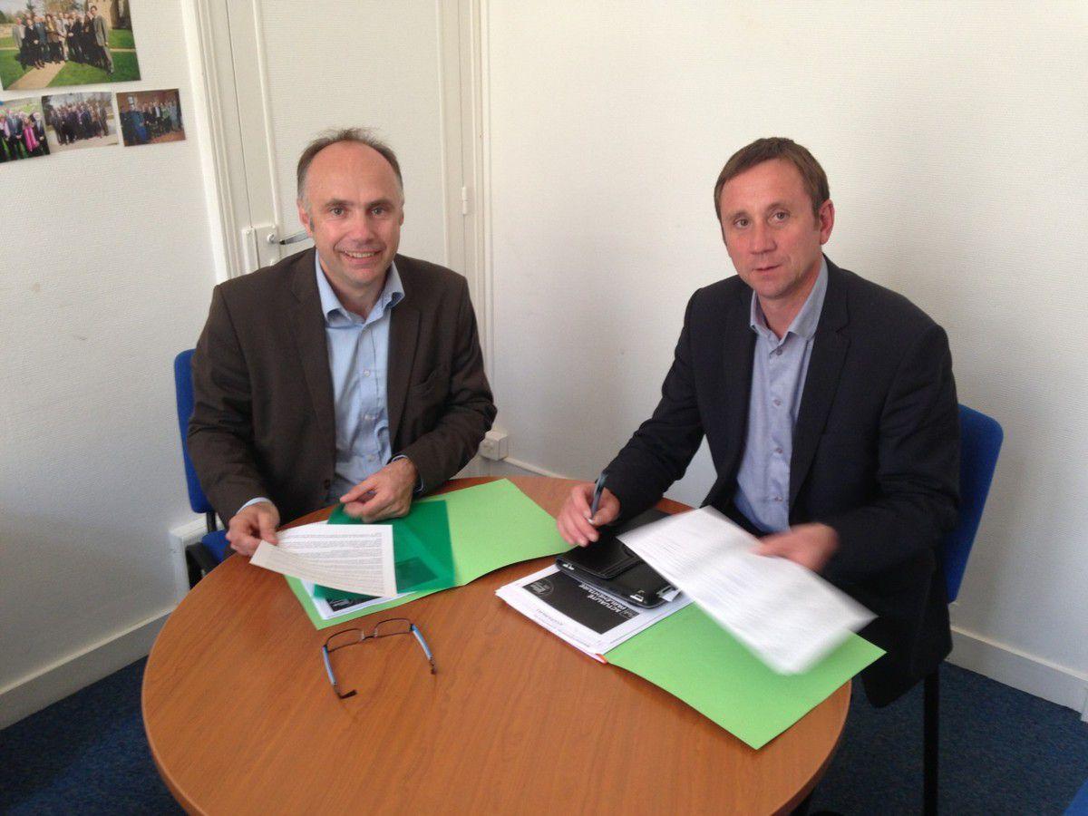 Avec Christophe CHAUDUN, nouveau Président du Groupe  des élus de gauche du Conseil général de la Sarthe