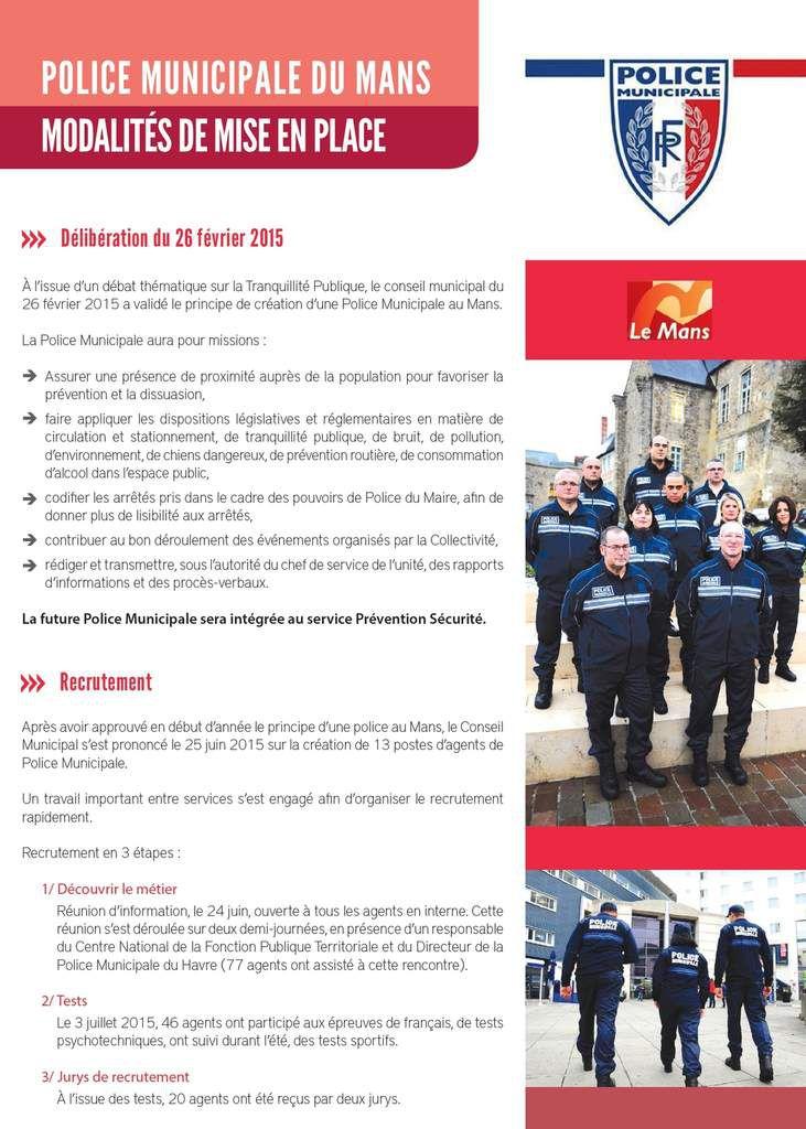 Pour tout savoir sur le recrutement des 10 premiers policiers municipaux du Mans