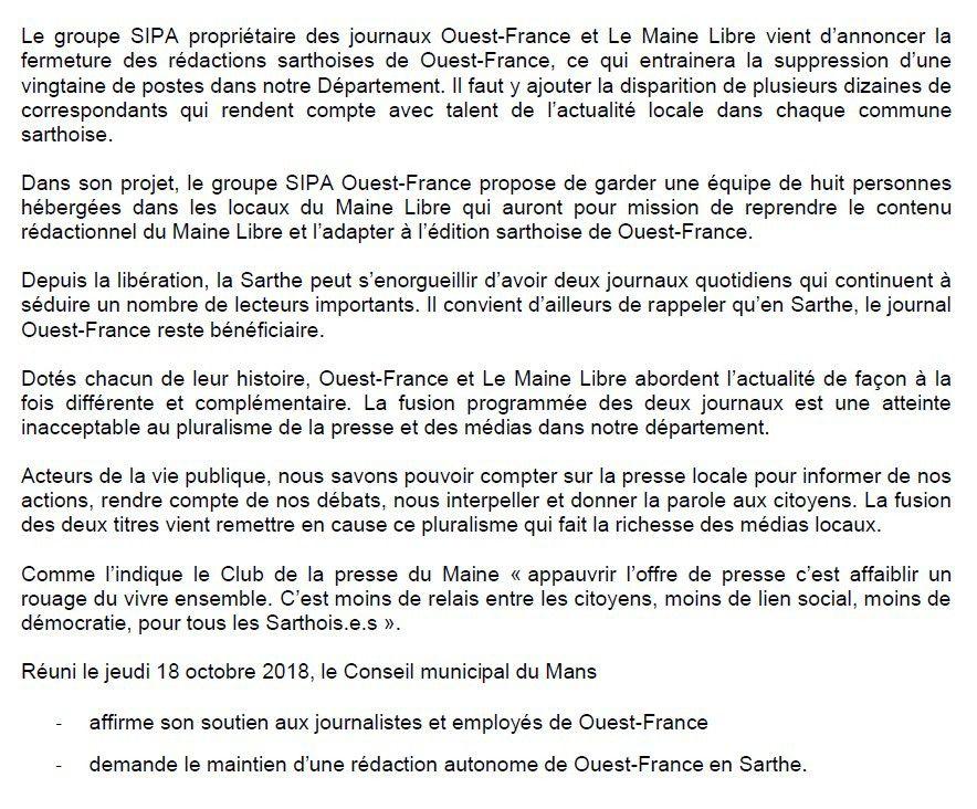 f9efb0a571c19 Un voeu pour le maintien d'une rédaction autonome de Ouest-France en ...