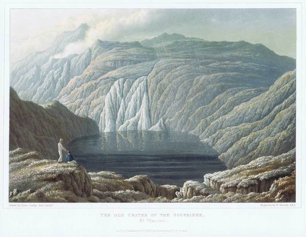 The crater of the Soufriere, St Vincent in 1837. drawn by Lt. Caddy