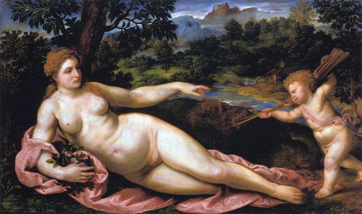 Venus y Cupido, Bordone, SXVI