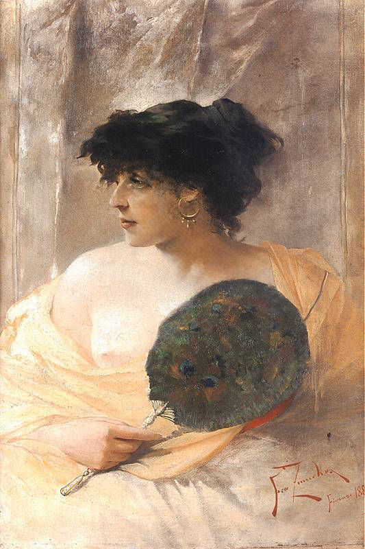 Mujer con abanico, Zmurko, 1884