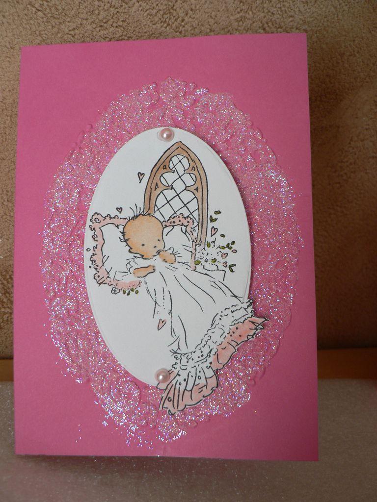 carte baptème rose