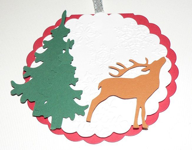 carte scrapbooking ronde renne et sapin