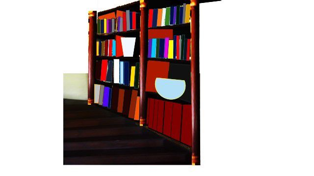 amenager une bibliotheque sur un large escalier. Black Bedroom Furniture Sets. Home Design Ideas