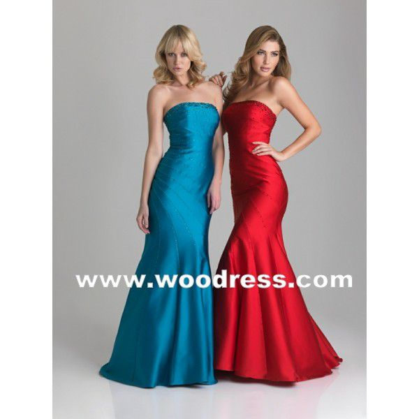 sexy strapless mermaid gown long red party dresses style 6641
