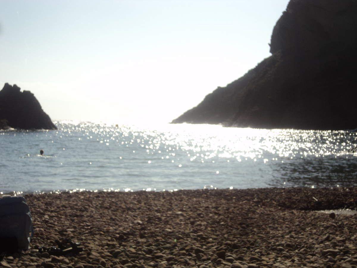 On descend à pied à la Calanque de Figuerolles, on a pris les maillots !! Baignade le 9 octobre dans une mer chaude et agréable, au milieu des rochers, un moment de pur bonheur que l'on savoure comme il se doit.