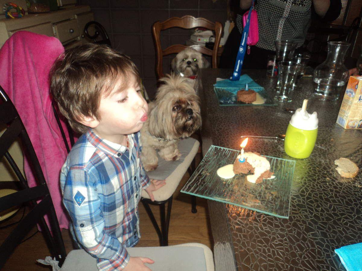 Maman a fait de délicieux petits gateaux individuels et chacun a eu une bougie, de ce fait, Oscar a fait le tour de la table pour souffler chacune !