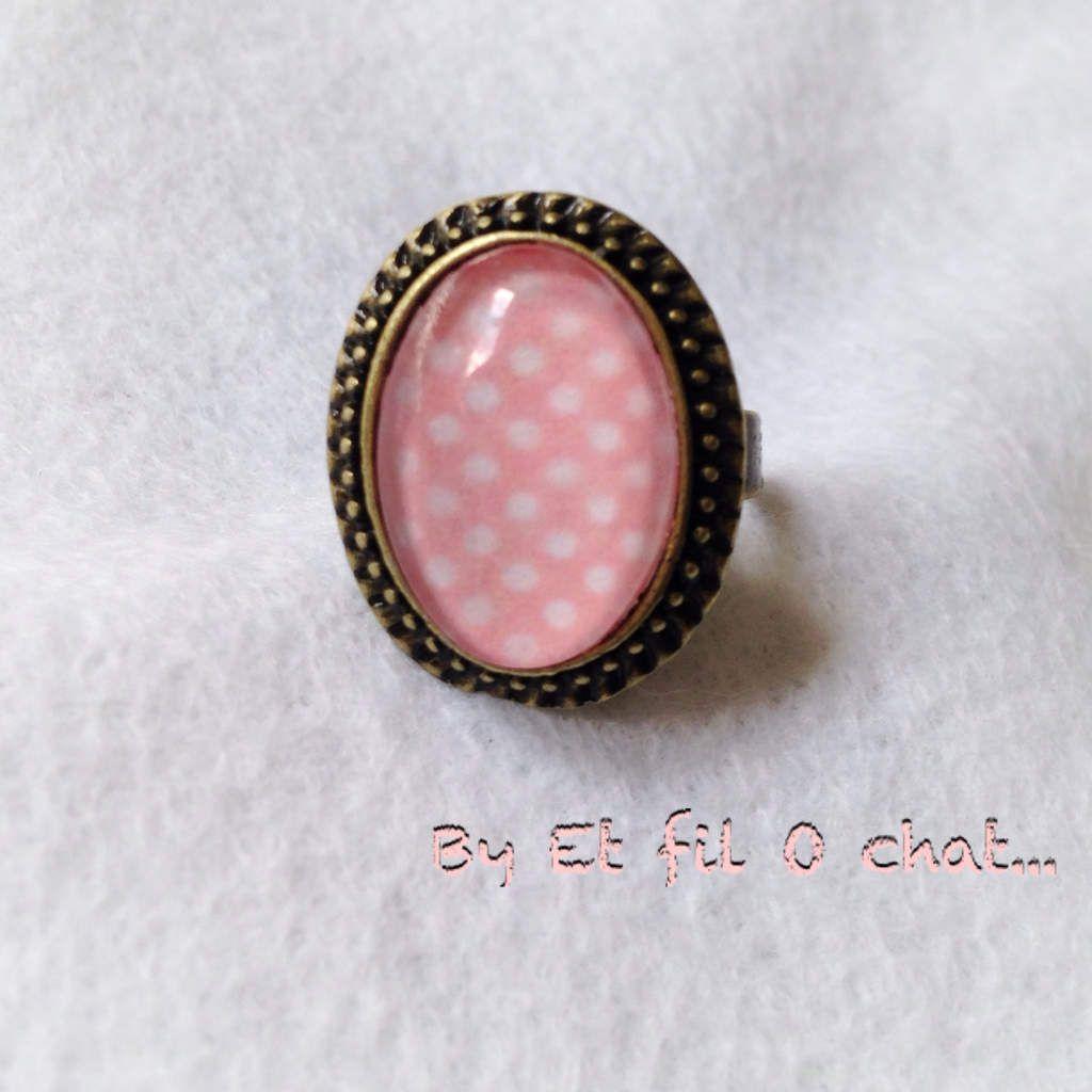Bracelet et bague vintage rose à pois blanc: