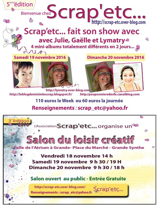 salon 18 19 et 20 novembre à grande Synhe http://scrap-etc.over-blog.com/