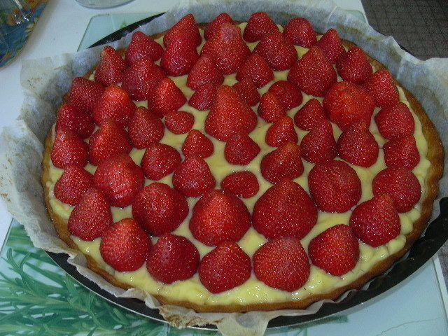 Tarte aux fraises et son coulis
