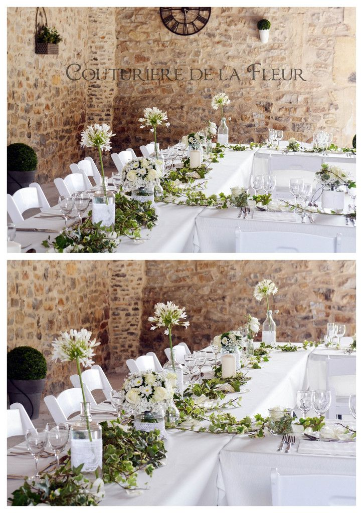 centerpieces in pretty jars and old - Fleuriste Mariage Avignon