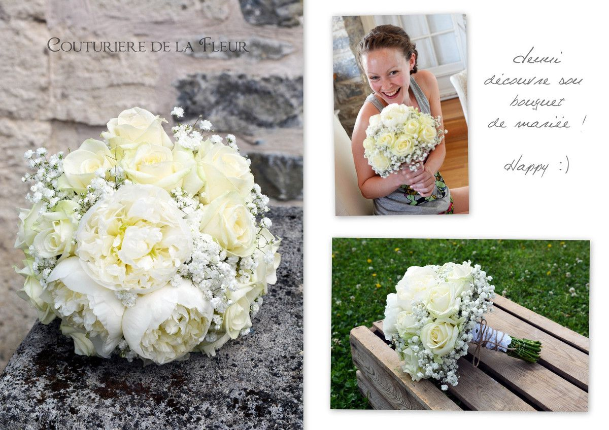 Jennie and her bridal bouquet with peonies, roses, gypso... - Bouquet de mariée avec pivoines, roses, gypso