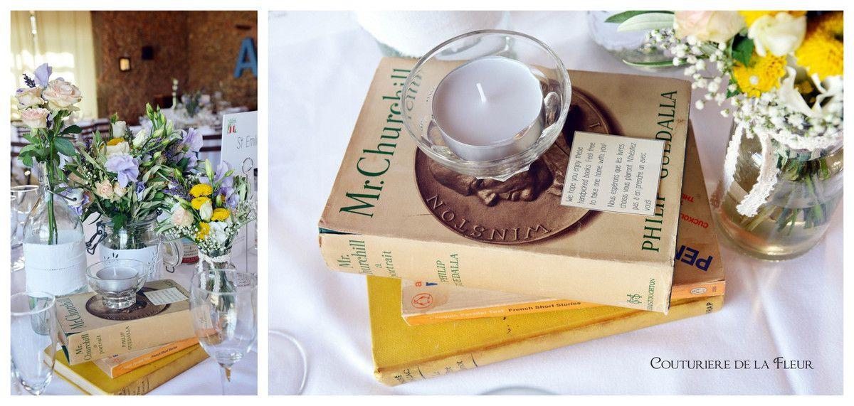 Mariage Livres Château-Bas d'Aumelas | Salle de réception | Fleuriste mariage vintage
